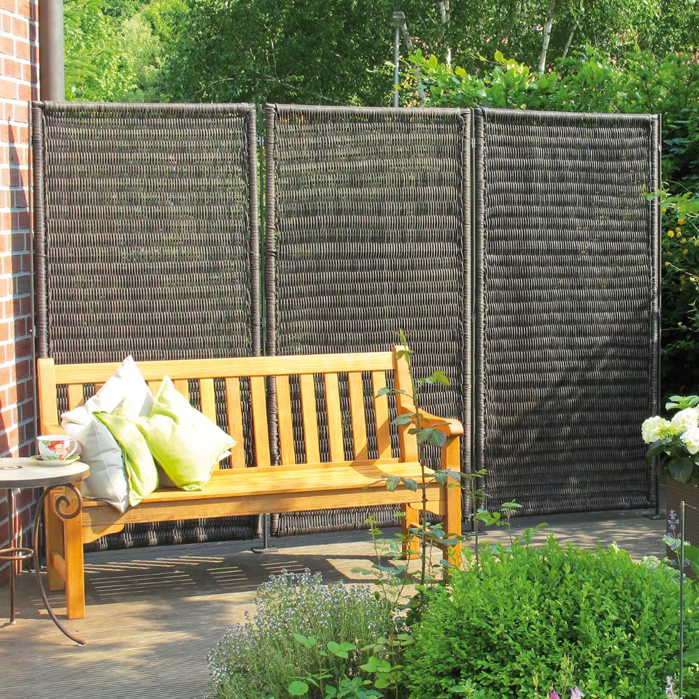 Sichtschutzwand Polyrattan Geflecht Oland Grau Meliert Sichtschutzwande Windschutz Terrasse Sitzplatz Im Garten
