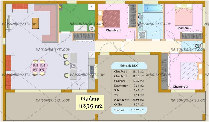 plan maison bois moderne plain pied 3 chambres Maison bois - maisons plain pied plans gratuits