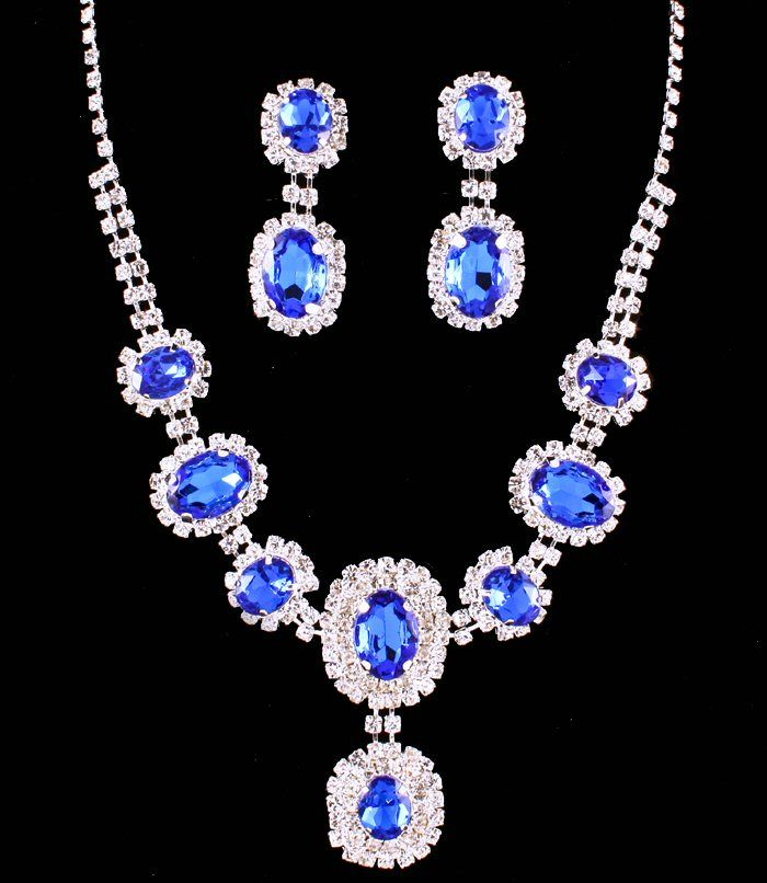 Sapphire Cobalt Blue Clear Crystal Rhinestone Oval Stone Formal Evening Bridal Wedding Silver Tone Necklace Set Elegant Costume Jewelry