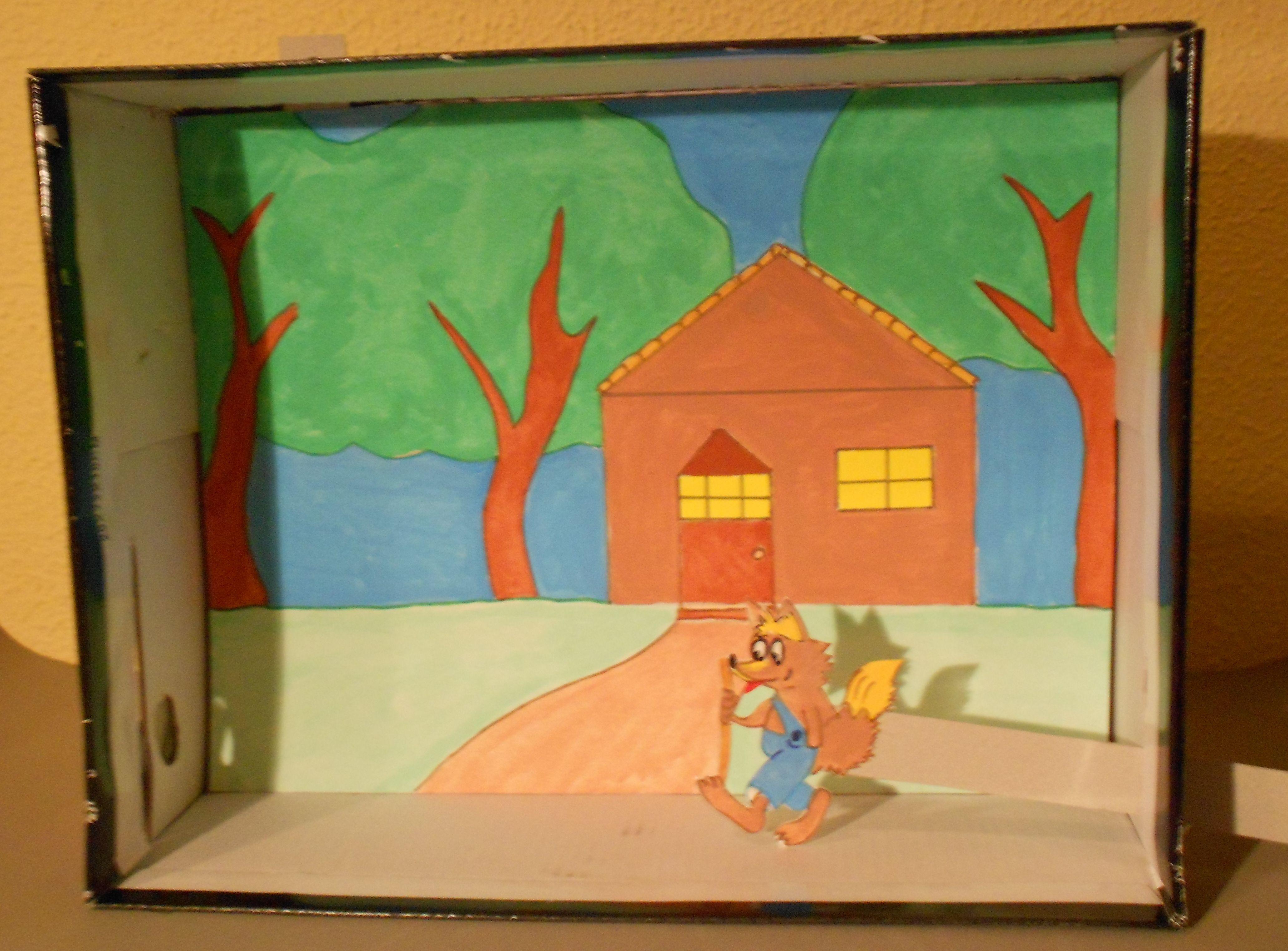 C mo hacer un teatrillo con una caja de zapatos - Como hacer una maqueta de una casa ...