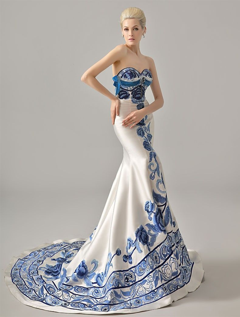 Unique Chinese Style Ivory Satin Handmade Blue Embroidery Wedding ...