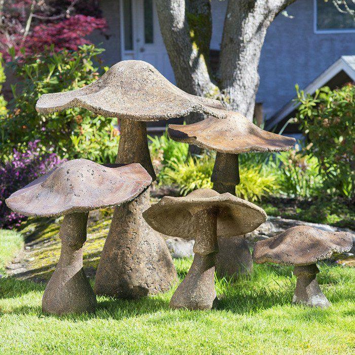 Cement Garden Art: Garden Mushrooms, Garden
