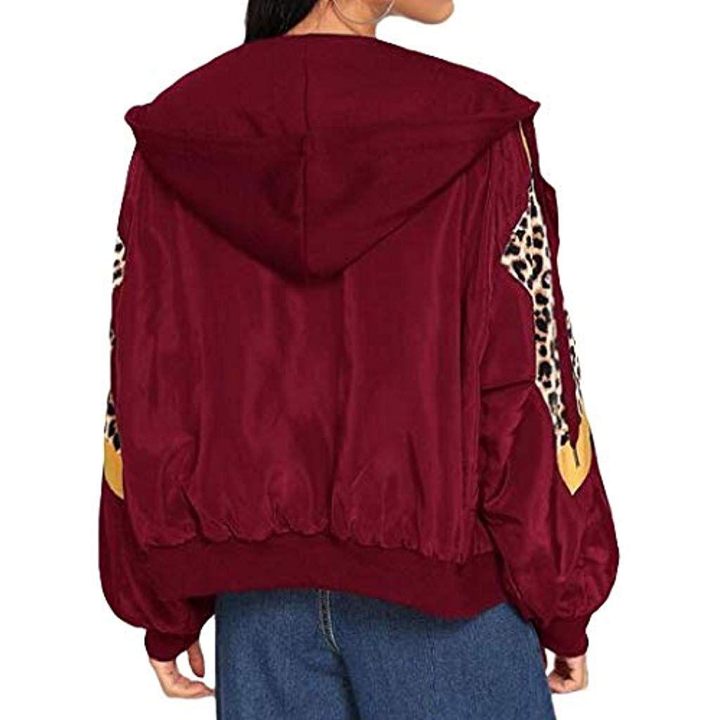 Donna manica lunga Pullover con cappuccio Leopardato Felpa con cappuccio Outwear
