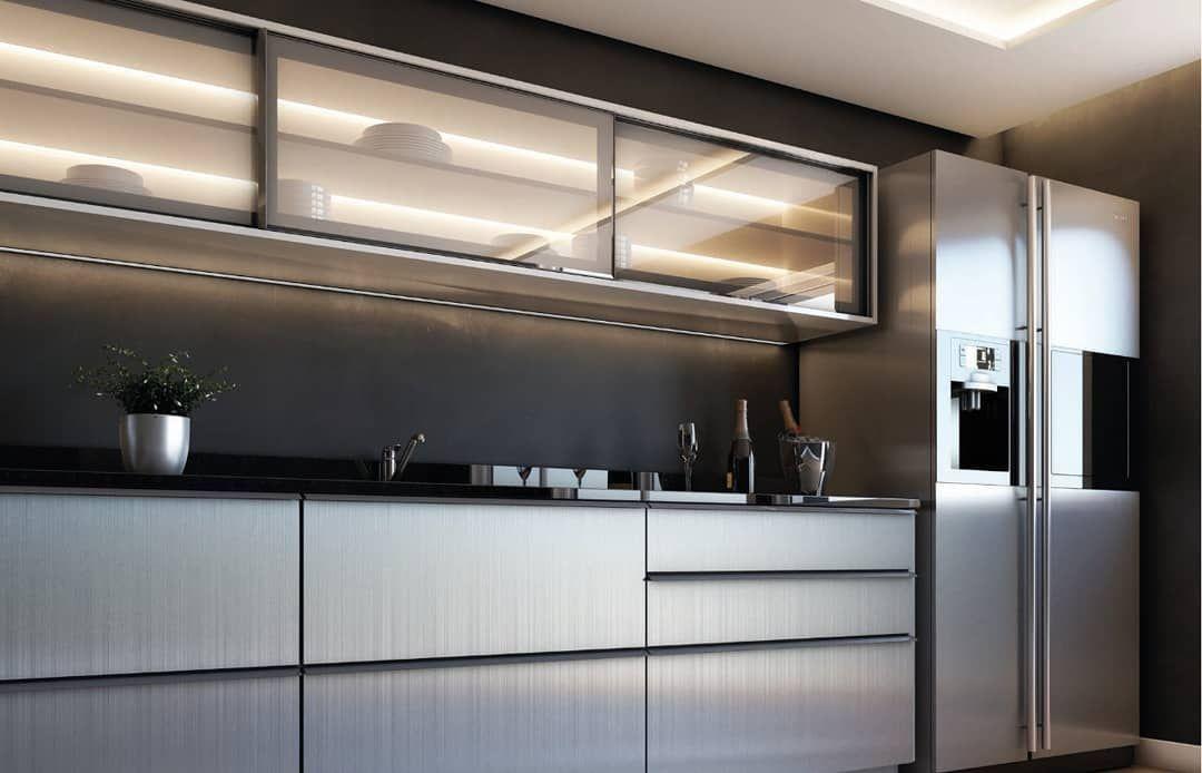 Portas Em Aluminio Com Acabamento Em Inox Escovado E Vidro Habitat
