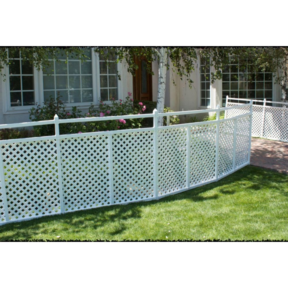 Snapfence 2 Ft 7 5 In X 4 Ft W White Modular Vinyl Lattice Fence Panel 4 Pack Vflp 1 The Home Depot Lattice Fence Panels Lattice Fence Fence Design