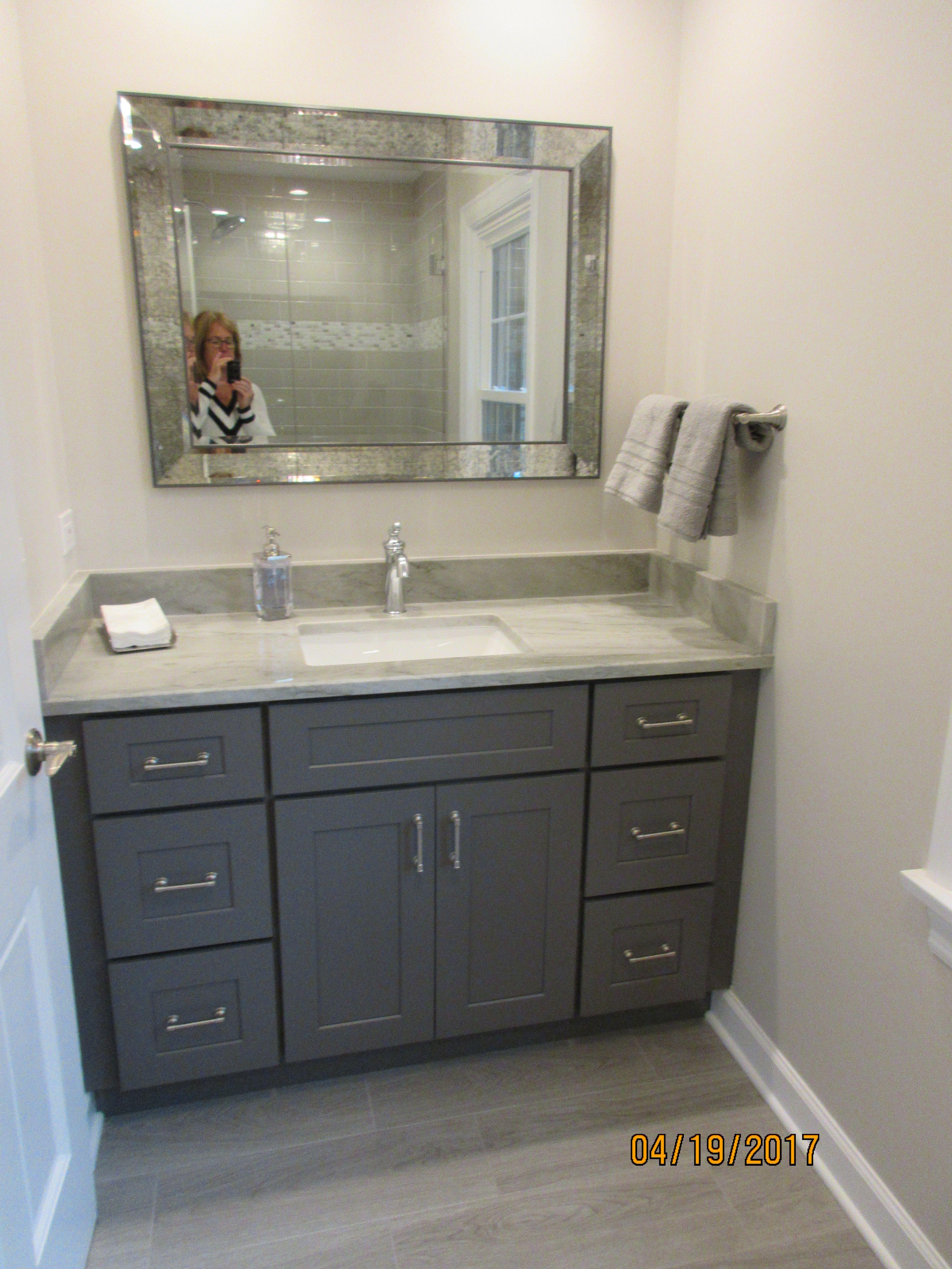 Best Hall Full Bath Renovation Dark Gray Shaker Cabinets And 400 x 300
