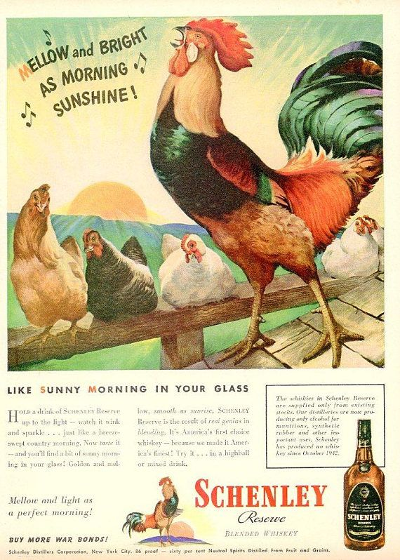 1944 Schenley Print Ad  Liquor Advert  Interior Design