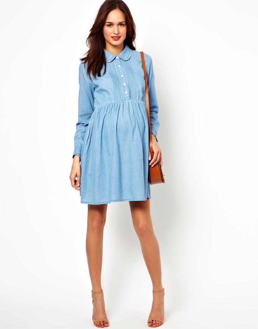 Womens blue exclusive denim smock shirt dress maternity shirt image 4 of asos maternity exclusive denim smock shirt dress ombrellifo Gallery
