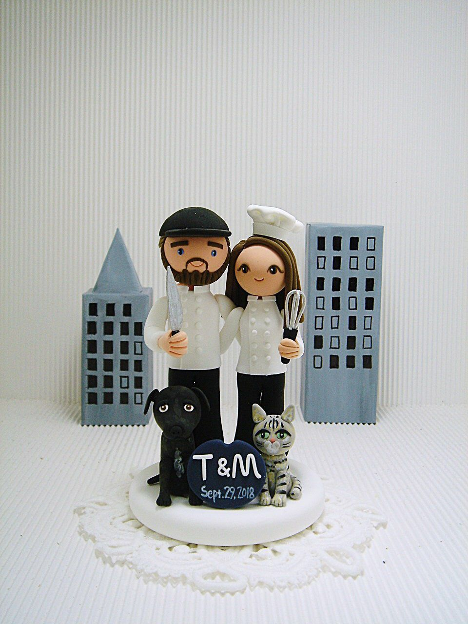 Chef couple with cat dog custom wedding cake topper mr and mrs