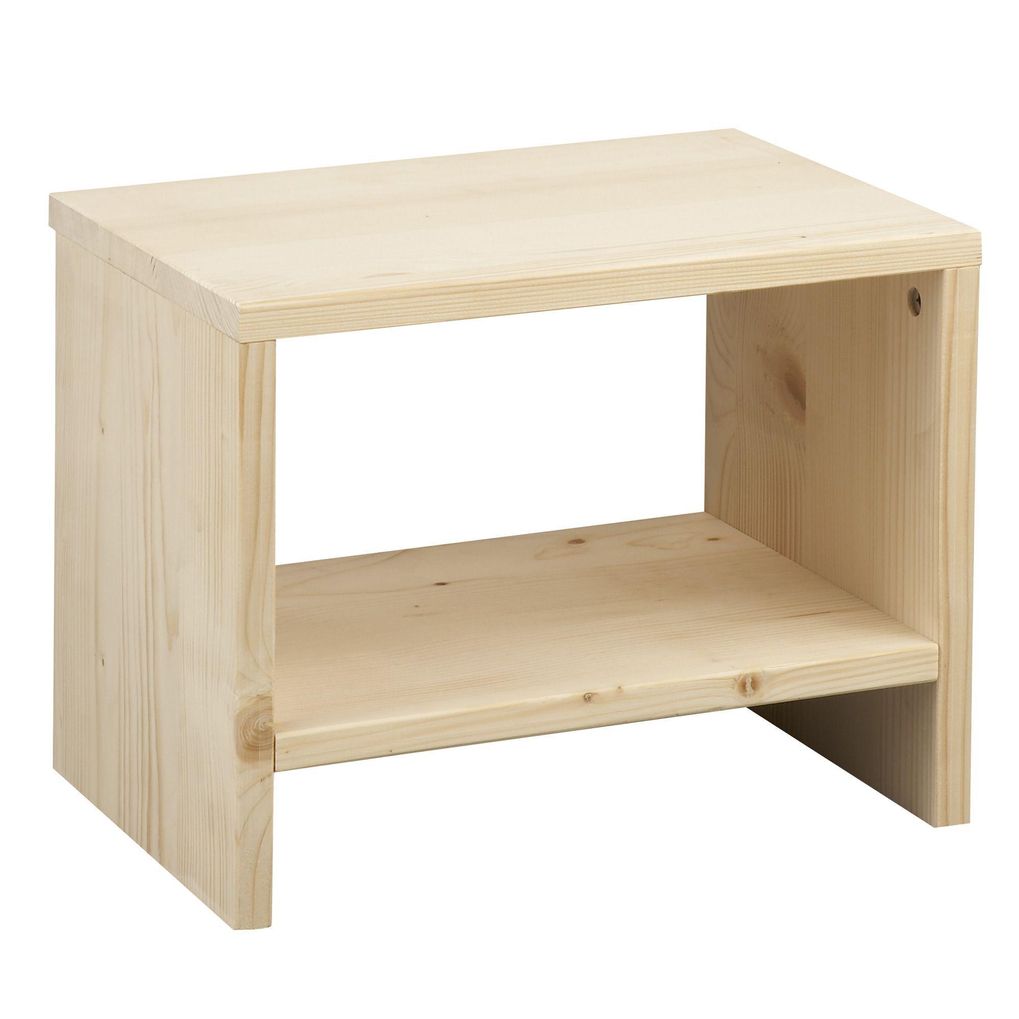 chevet 1 tablette en bois brut lyba tables de chevet chambre par - Table De Nuit Alinea