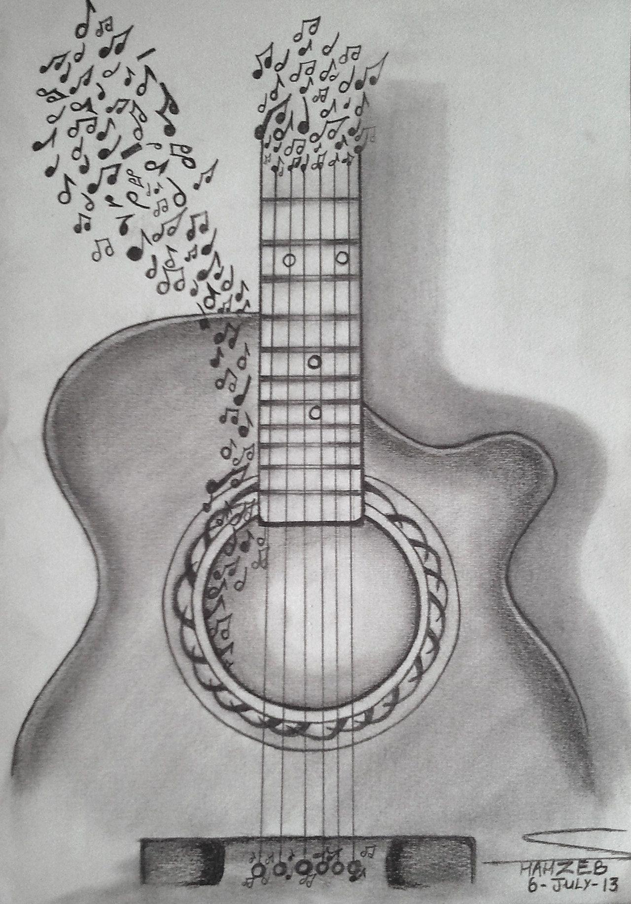guitar_is_music__pencil_sketching__by_shaixey-d6ctzum.jpg (1280 ...