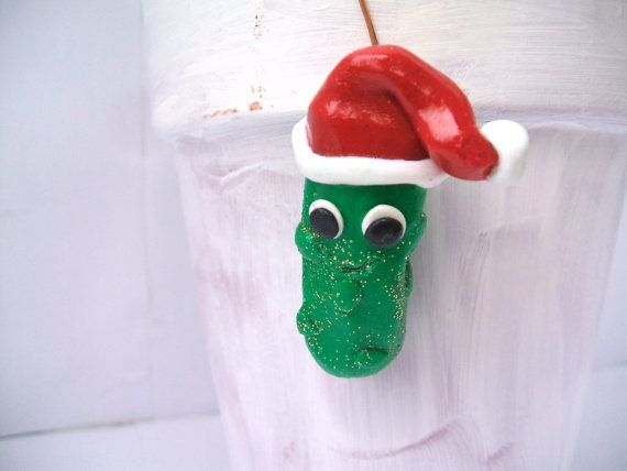 Funny Christmas Pickle Ornament by HornCatCreations on Etsy