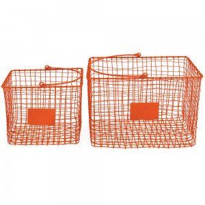 Set of 2 Orange Shop Baskets