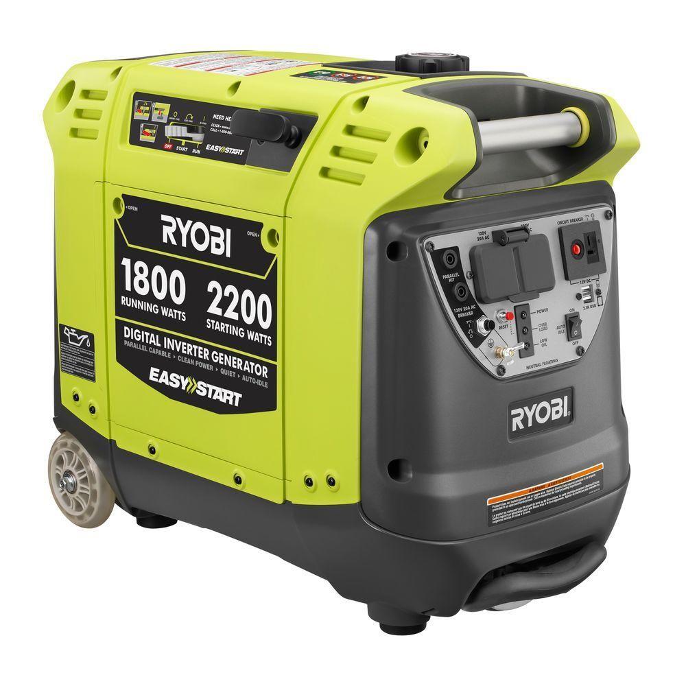 Ryobi 2,200 Watt Green Gasoline Powered Digital Inverter Generator RYI2200    The Home Depot