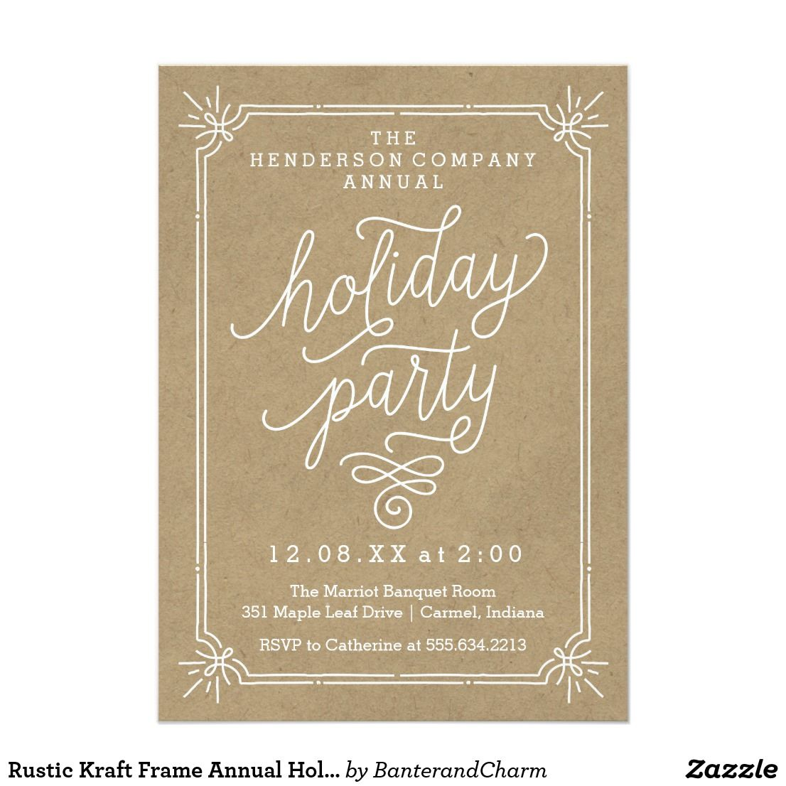 Rustic Kraft Frame Annual Holiday Party Invite