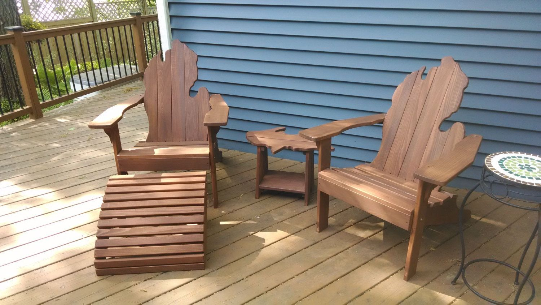 Michigan Adirondack Chair With Upper Peninsula Side Table And Ottoman    Fall Liesure, Holiday Gift