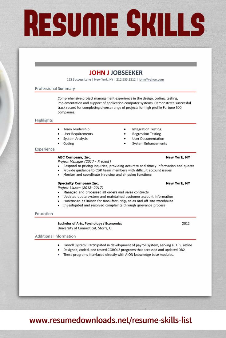 Resume Skills List Need Help Adding Resume Skills To Impress Employers We Have A Large Sample Of Skills That Resume Skills Resume Skills List List Of Skills