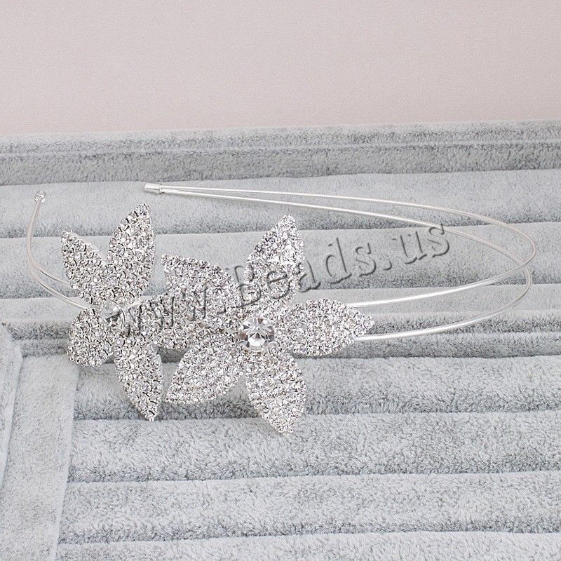 Bridal Hair Band, Zinc Alloy, Flower, silver color plated