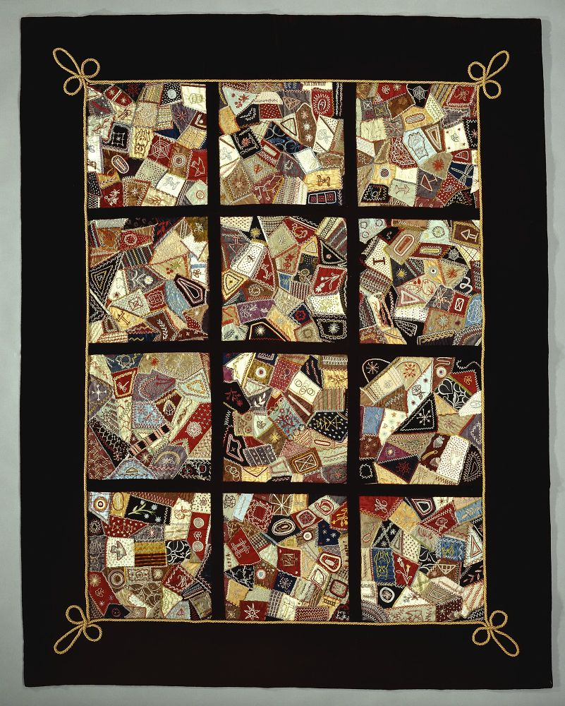 1888 Stevens Family Silk Crazy Quilt | National Museum of American ... : history of crazy quilts - Adamdwight.com