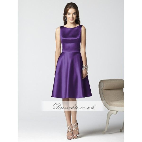 Majestic Purple Satin Short Bridesmaid Dress With Deep Cowl Back ...