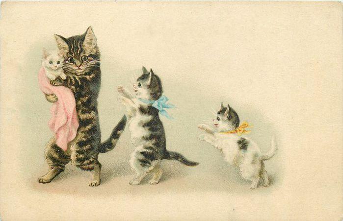 картинки для декупажа котята винтажные