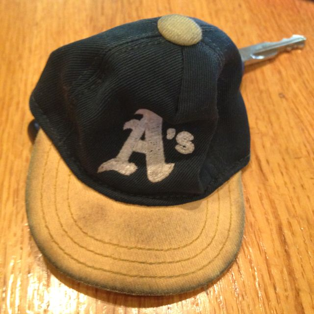 Oakland Athletics hat keychain