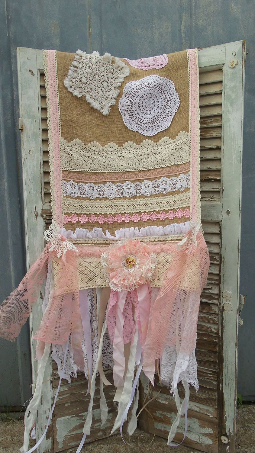 Pale Pink Ivory Table runner Lace table runner Rustic