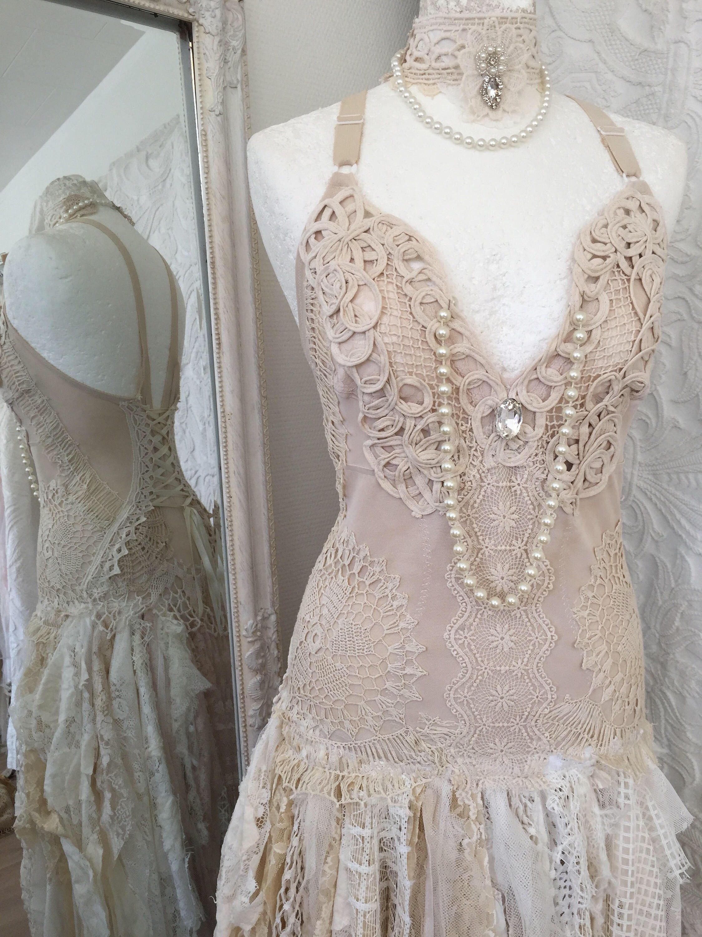 RESERVED !!!!50 % down payment !!!Boho wedding dress tattered look ...
