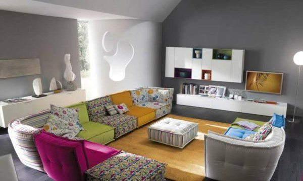 Canapé Du0027angle En Tissu Multicolore Par Roche Bobois