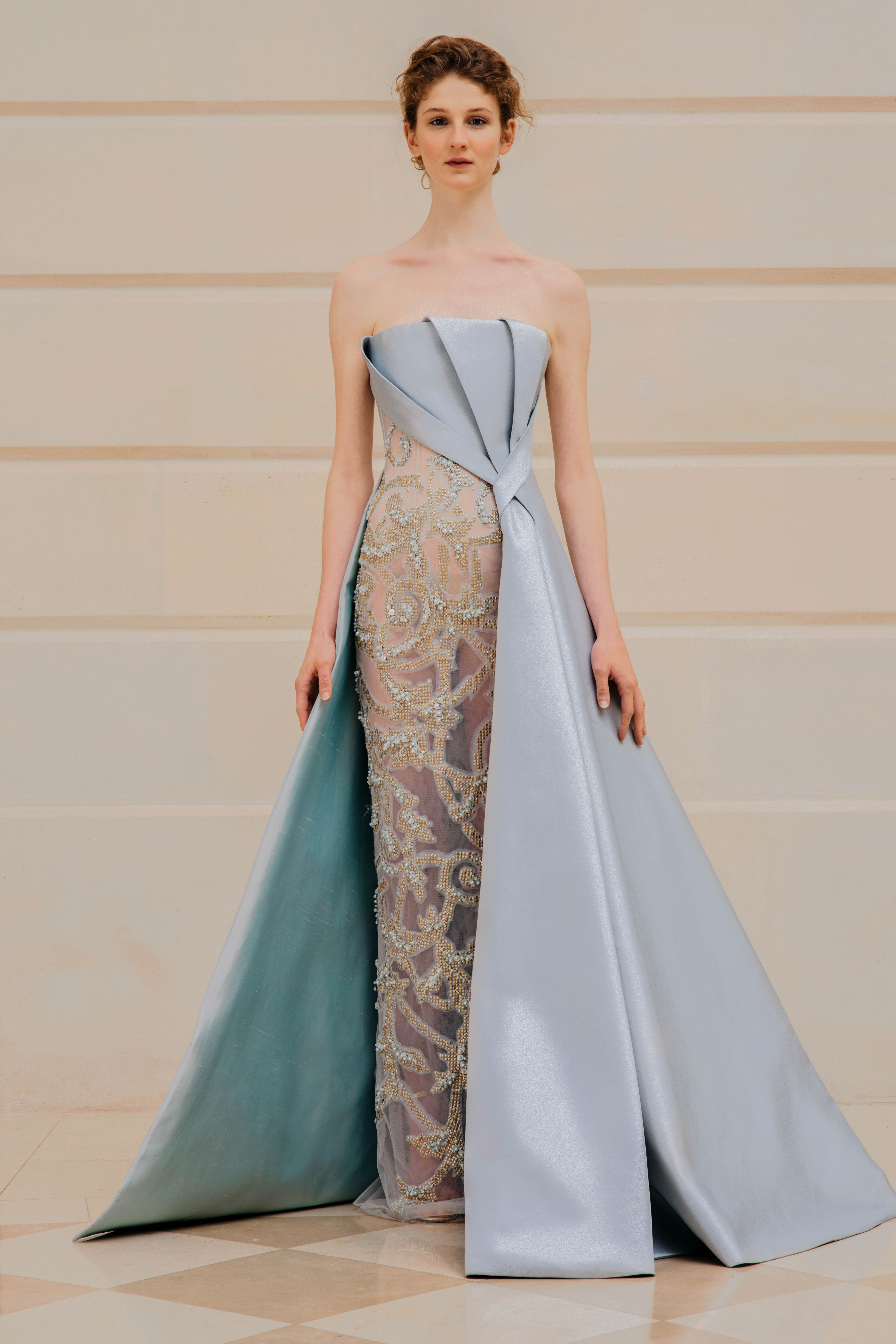 Rami Al Ali Ss18 Haute Couture Collection Powder Blue Mikado Sleeveless Dress With Fully Beaded Skirt In Couture Gowns Fashion Design Dress Fashion Dresses