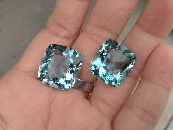 one pairs blue aquamarine drilled top by vlvp on Etsy, $49.99