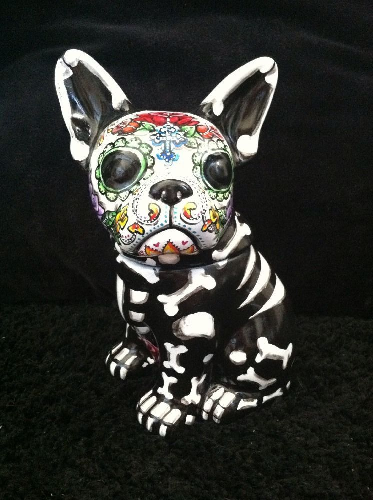 Day Of The Dead French Bulldog Cookie Jar Dia De Los Muertos Pet