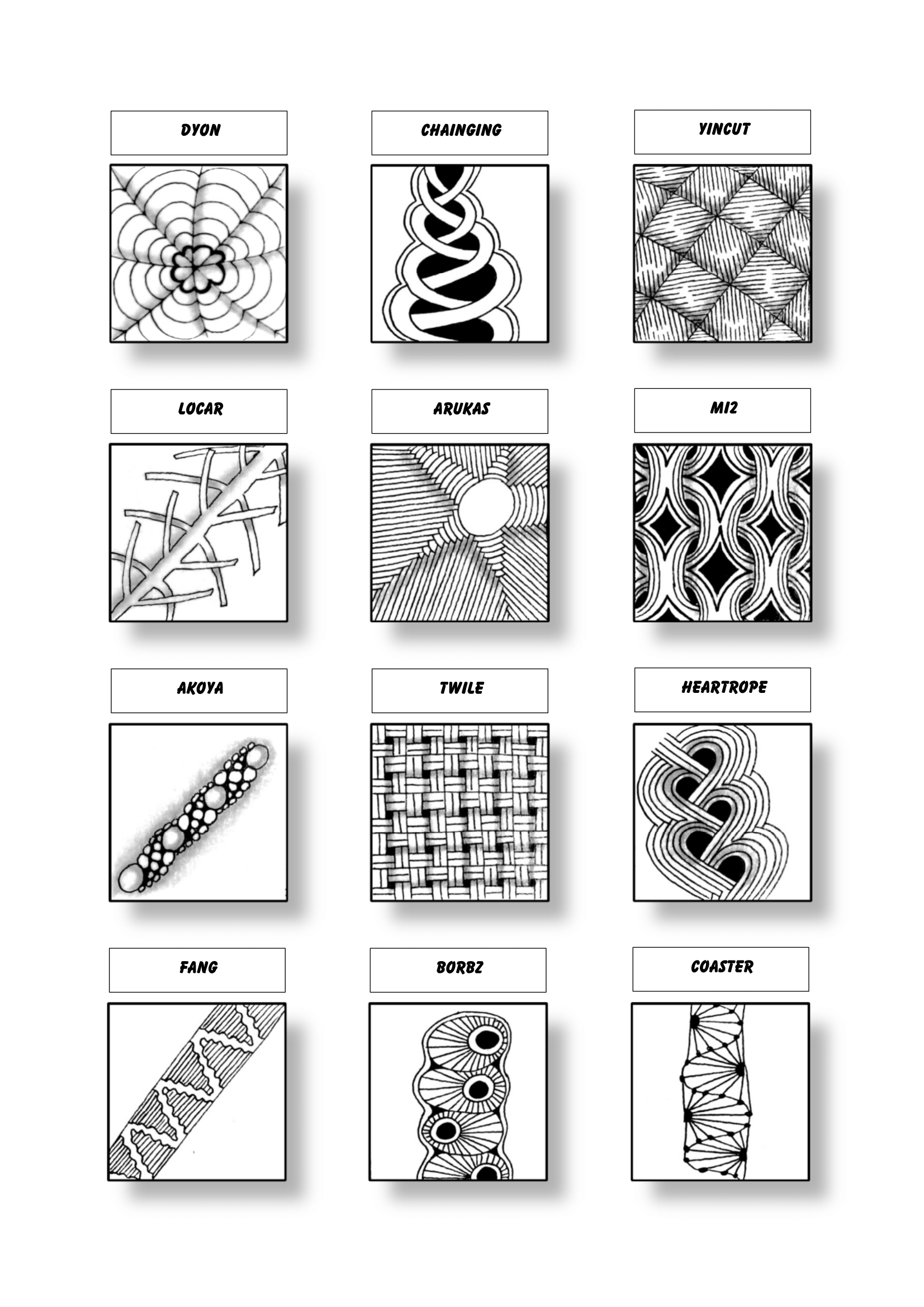 Zentangle Pattern Sheet 17 Patterns Dyon Chainging