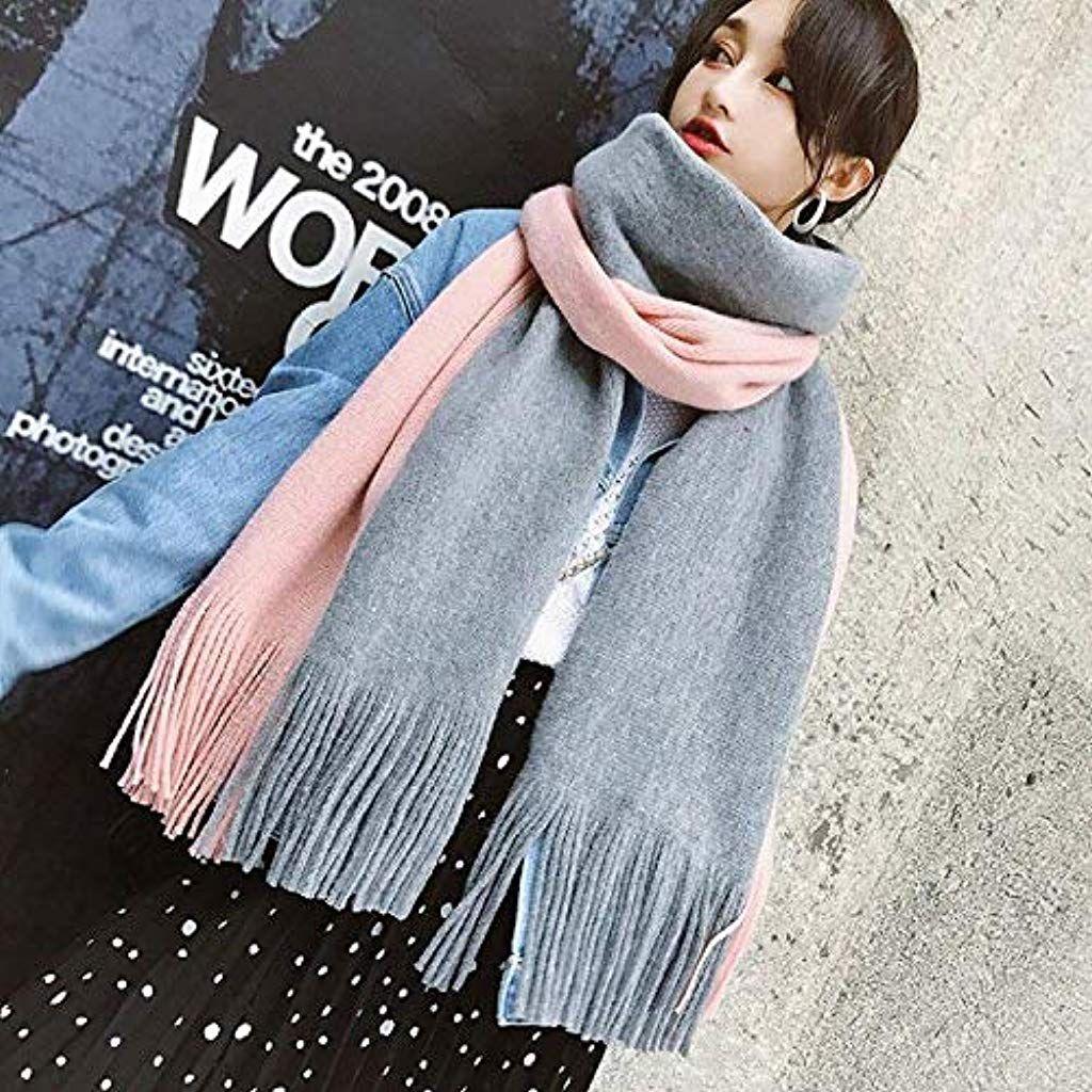 Stole da Donna Donne Inverno Caldo Colore Cucitura Lungo Lana Scialle Plaid Morbido Collo Sciarpa