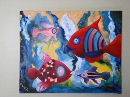 Tableau Peinture Poisson Mer Aquarium Fonds Marins Animaux