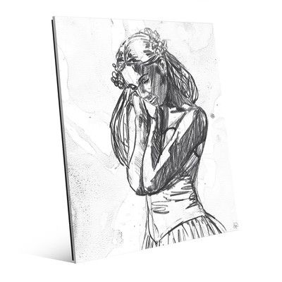 "Click Wall Art 'Dancer Light Sketch' Print of Painting on Glass Size: 24"" H x 20"" W x 1"" D"