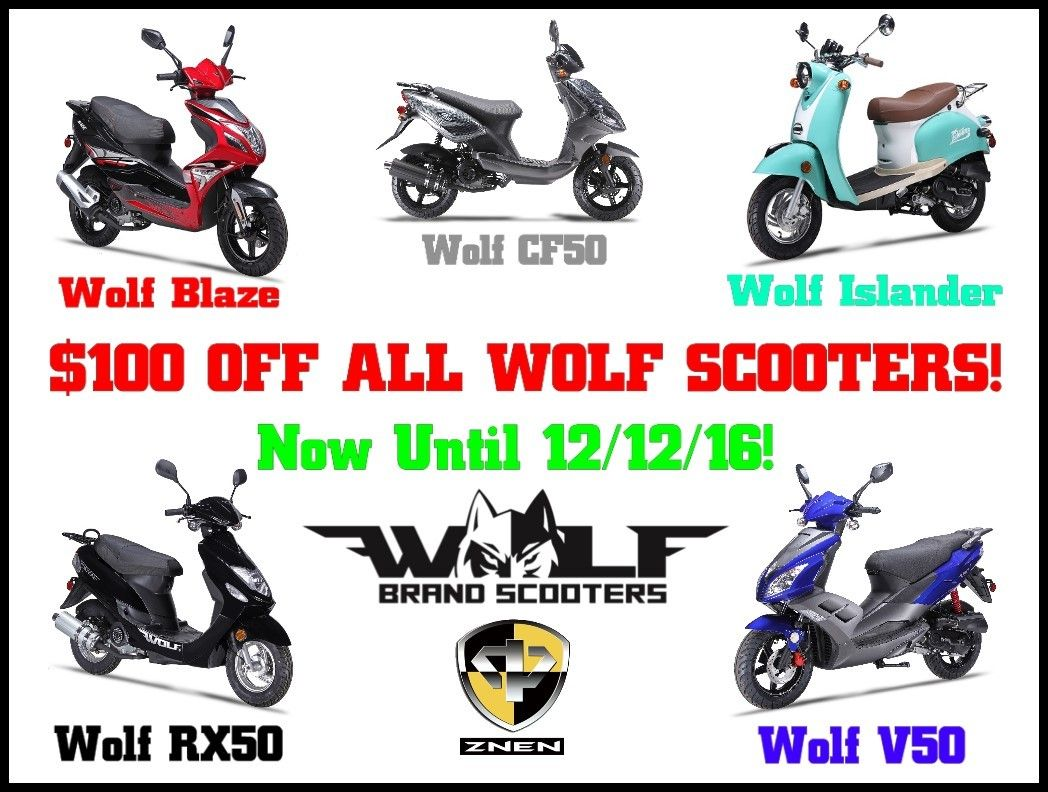 Now until 12/12/16, $100 Off our Wolf Brand Scooters! Wolf
