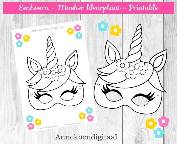 eenhoorn masker kleurplaat gratis printable feestje