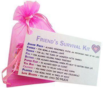 Friend's Novelty Survival Kit. Friendship gift & Card in One with 10 Sentimental Items