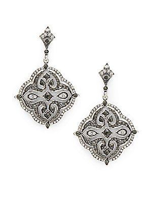 098ed9dc2 Azaara Vintage by Azaara Black Diamond, Swarovski Crystal, Silverplated,  Silver & Copper Geometric Drop Earrings