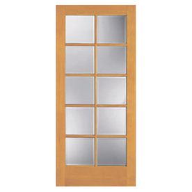 Reliabilt 30 In X 80 In 10 Lite French Pine Solid Core Non Bored Interior Slab Door 129 Clear Glass Wood Slab Clear Glass Interior