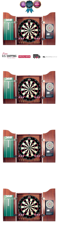 Dart Boards 72576: Electronic Scorer Dartboard Cabinet King Bristle Darts  Cricket Game Dart Board