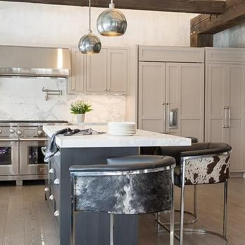 Dark Gray Kitchen Island With Black And White Cowhide Counter Entrancing Kitchen Island Counter Inspiration
