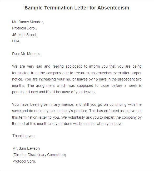 free termination letter template sample example format printable - letters of termination of employment examples