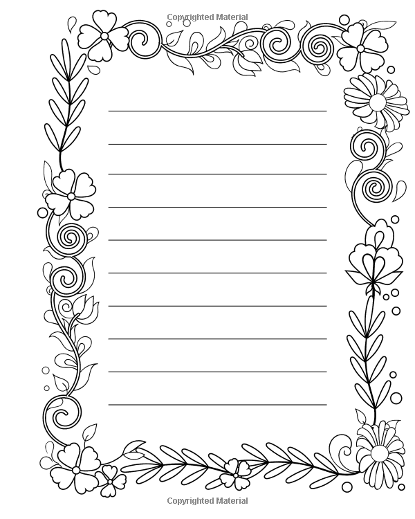 Amazon Com Lined Journal With A Coloring Border Large Journal Notebook To Write In And Color Jou Coloring Journal Floral Stationery Large Journals Notebooks