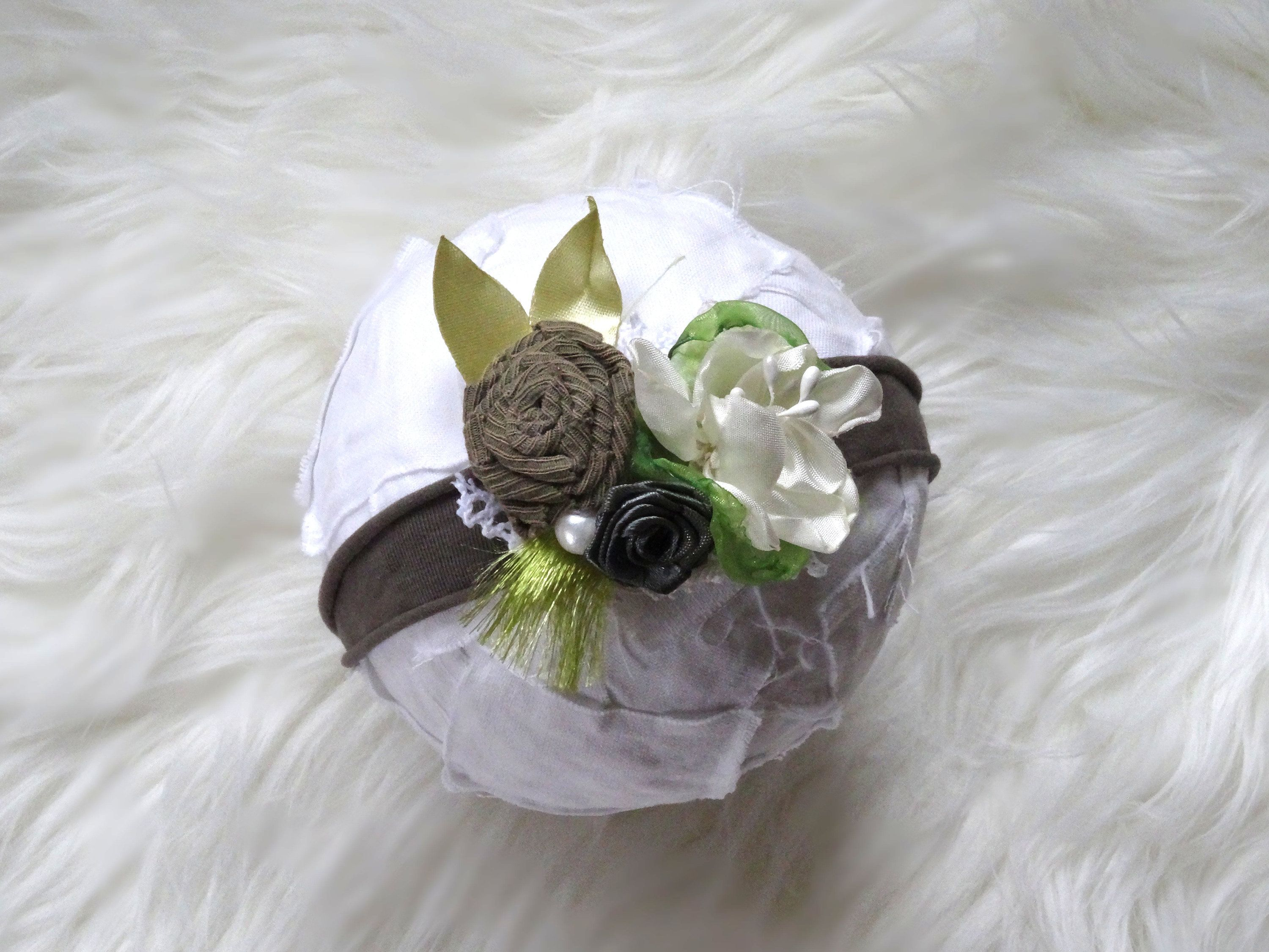 Newborn Headband Photoshoot Baby Headband Green White