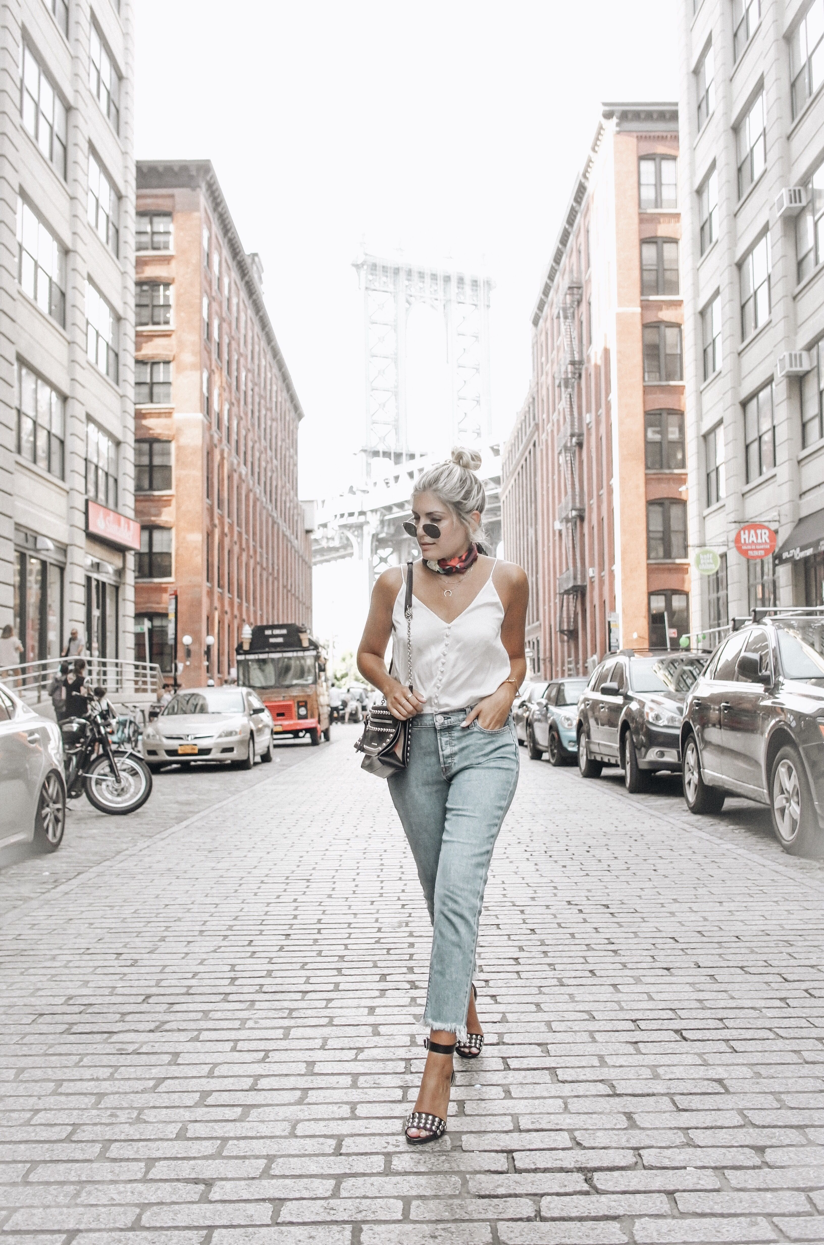 Emily Luciano struts through NYC in Hudson's Riley Crop