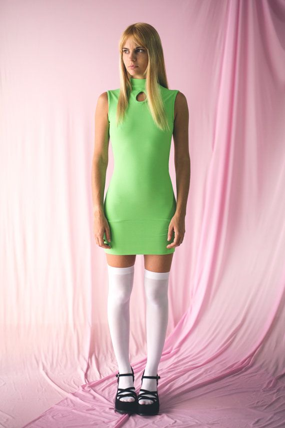 SEXY DRESS -green, cut out, turtleneck, festival, club kid, bodycon ...