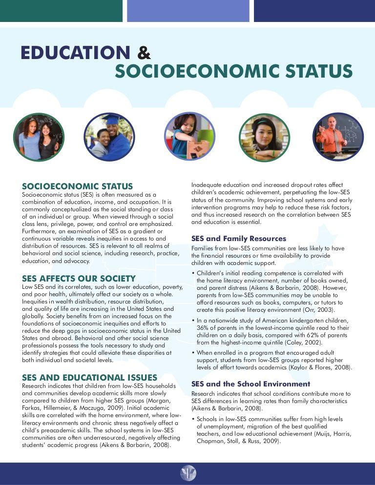 Education  Socioeconomic Status Fact Sheet Social Leadership