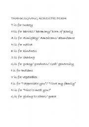 english worksheet thanksgiving acrostic poem thanksgiving crafts